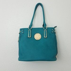 Michael kors shoulder bag tote aqua blue gold